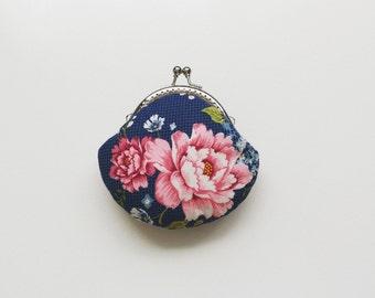 SHOP CLOSING SALE Pink Flower Coin Purse - Clutch Purse - Blue Clutch Purse - Wedding Clutch Purse - Small Coin Purse - Tilda fabric