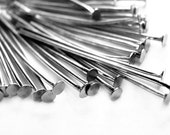 50 antique silver plated 20 gauge head pins - 2 inches - 50mm