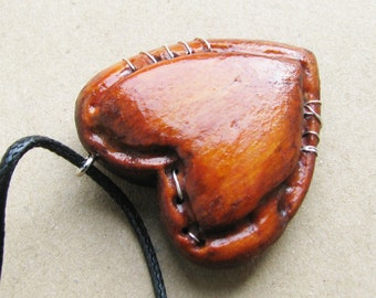 Wooden broken stitched heart mended love handmade necklace big ornament charm pendant A8