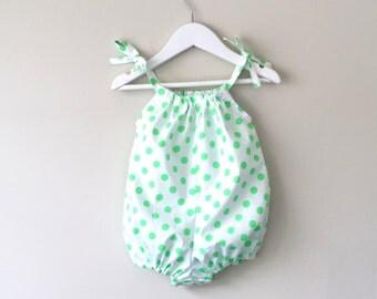 Baby girl romper bubble romper green polka dot playsuit sunsuit