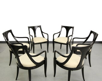 Set of 6 Black Mid Century Modern Dining Chairs by Kindel Furniture