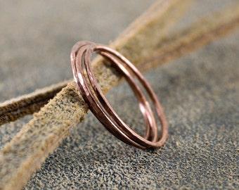 Copper Stacking Rings- Slim Stacking Rings- Handmade Copper Rings- Copper Rings- Slender Stacking Rings-