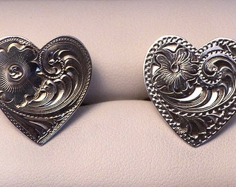 Original Vintage Sterling Silver Heart with Etched Design Cufflinks