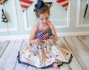 """Girl Fourth of July Outfit - Independence Day Dress - Patriotic Dress - Vintage Fourth of July Dress - """"Land of the Free"""""""