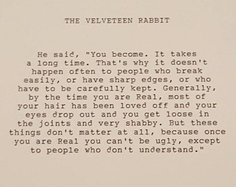The Velveteen Rabbit typed quote