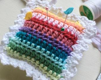 Crochet Rainbow Pincushion With Picot Edging
