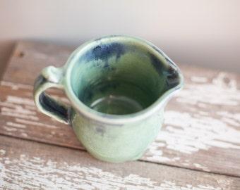 Pottery creamer seafoam green and blue