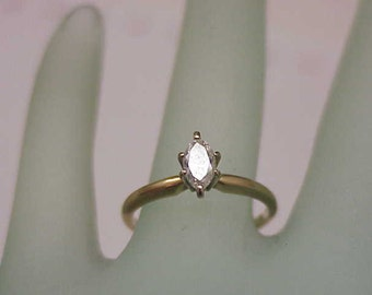 Estate Vintage   14k Yellow Gold .36ct  Marquise Diamond Ring  ,1930's