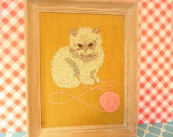 Cat Crewel Wall Hanging - Framed - Avon Kit - Playful Kitten