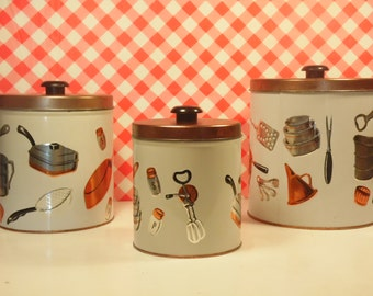 Mid Century Metal Kitchen Canisters - Set Of 3  - Kitchen Tools - JL Clark