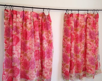 vintage pink floral curtains, AS-IS, usable condtion, pink flower curtains