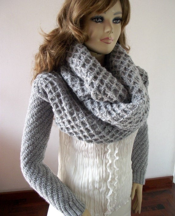 Knitting Pattern For A Long Scarf : KNITTING PATTERN Scarf Sleeve big scarf with long sleeves