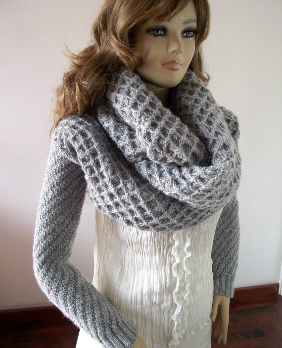Knitting Pattern Scarf With Sleeves : KNITTING PATTERN Scarf Sleeve big scarf with long sleeves
