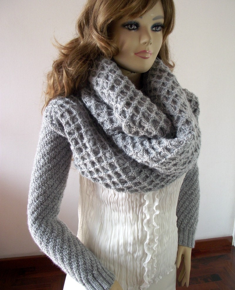KNITTING PATTERN Scarf Sleeve big scarf with long sleeves