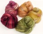 Natural Dyed Fiber Batts - Honeysuckle - (4.1 oz.) wool, silk