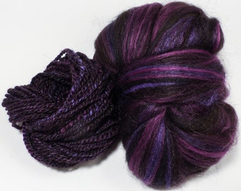 Obsidian  -( 4 oz.)  Custom blended top - Zwartables / Tussah Silk/ Alpaca ( 40/35/25/ )