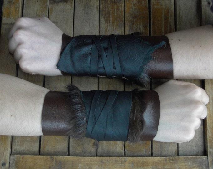 Leather Fur Cuffs - Warrior Viking Tribal Larp Costume Cosplay - Pair #12b