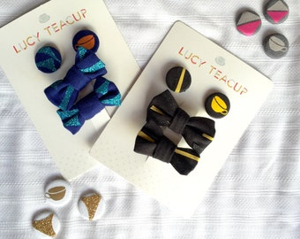 Hair-Bow & Pin Button Badge Accessory Packaged Set- Four Colours (co-ordinates with dresses)