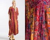Vintage Gauze INDIA 70s Patchwork Maxi Kaftan Maxi dress // Caftan