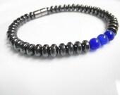 High Power Magnetic Hematite Blue Cats Eye Bracelet