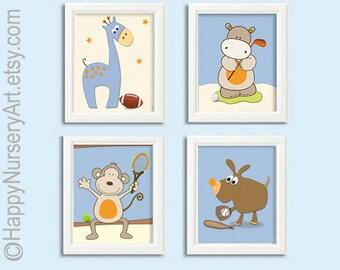 Boys Nursery wall art, boys bedroom decor, sports nursery, baseball, football, tennis, Light blue nursery posters. set of 4 art prints, art
