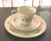 Noritake Ivory China Japan 7151 Asian Song 3pc, 8.5 inch plate, tea cup and saucer, Discontunued