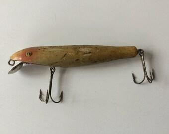 Vintage Antique Wood Fishing Lure,Glass Eyes