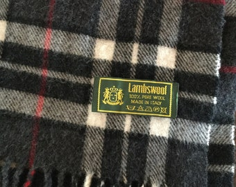 Vintage Lambswool Scarf Grey/ Black/ Red Plaid Made in Italy