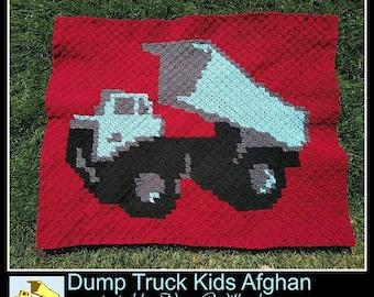 C2C Graph, Dumptruck Kids Afghan, C2C Graph, & Written Word Chart, Dumptruck Graph, Dump Truck C2C