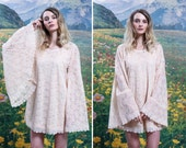 70s BELL SLEEVE Floral LACE Micro Mini Dress 1970s Peach Cream See Through Bohemian Goddess Festival Dress (small)