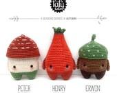 lalylala crochet pattern 4 SEASONS - AUTUMN - toadstool, rose hip, acorn