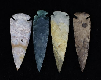 "4"" Agate Arrowheads Whole Stone Knapped Arrowhead Spear Point Reproductions"