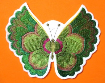 Embroidered Lenten Rose Butterfly in Watercolor, Applique Patch, Home Decor, Crafts, Butterfly, Garden Flower Butterfly, Iron On, Sew On