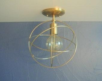 Four Ring Brass Orb Flush Mount Light Fixture - Mid Century Modern Style Lighting