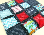 Airplane Security Rag Quilt with Navy Minky