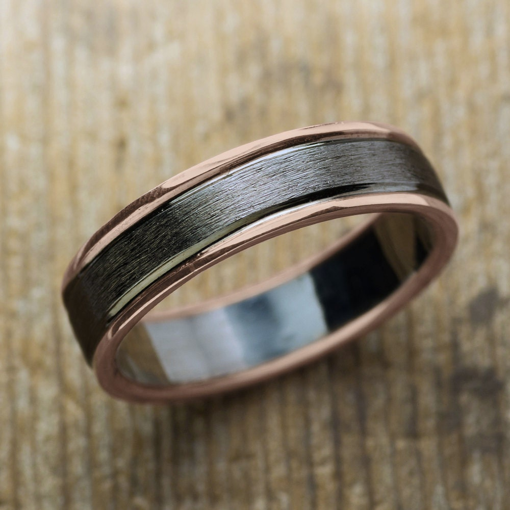 6mm mens wedding band 14k rose gold sterling silver double