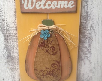 Wooden Welcome Pumpkin Door Hanger, Fall Home Decor Signs, Fall Welcome Signs