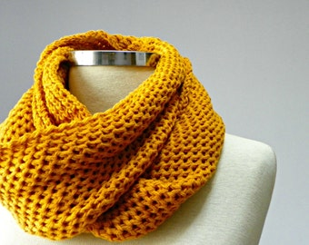 SALE, Cowl Scarf Neck Warmer, knit scarf, mustard winter - fall women accessories, chunky scarf, infinity scarf, cowl scarf