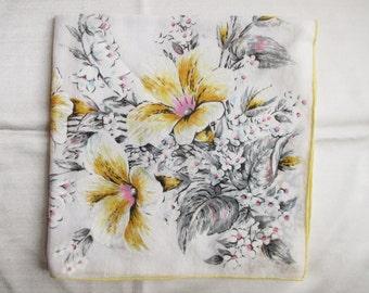 Vintage Cotton Floral Hankie Wedding Hankie