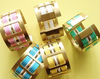 "Graphic and colorful Cuff Bracelet Golden and Sky blue, Yellow, Mint, White and Pink geometric pattern sixtees ""63"""
