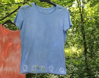 Custom Tie Dye T-Shirt in Spotty Sky Blue, Hand-Dyed 100% Cotton T Shirt, Hippie Festival Colourful. Size L