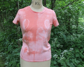 Novelty Tie Dye T-Shirt in Salmon Pink, Hand-Dyed 100% Cotton T Shirt, Boho Hippy Festival. Size L