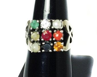 925 Sterling Silver Navratan Pendant Studded Precious Nine Planet Gemstones Religious Astrology Spiritual Ring Lucky Charm