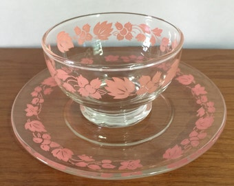 Pink Gooseberry Sherbet Cup And Dessert Plate Perfect Pyrex Companion