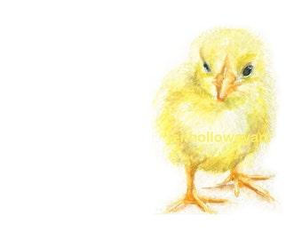 Watercolor Chick, Baby Chick Print, Yellow Chick Print, Farm Animal Print, Animal Art