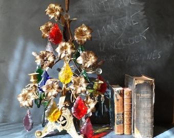 French Antique Candelabra Girandole Tole Church Flower Ornament in Gilt Bronze. 19th  century chandelier