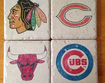 Chicago Sports Team Drink Coasters Set of 4