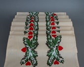 Vintage Valentines day table runner peach cotton