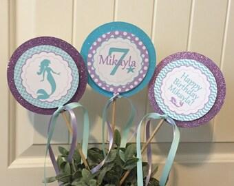 SWEET MERMAID Happy Birthday Party or Baby Shower Centerpiece Sticks Set of 3 Aqua Lavender