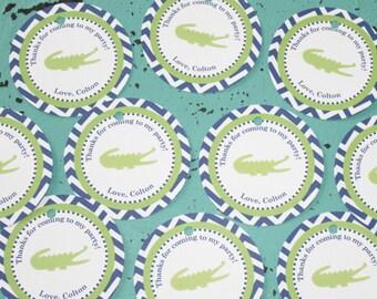 PREPPY CHEVRON ALLIGATOR Birthday Party Favor Tags or Stickers 12 {One Dozen} Navy Lime Green